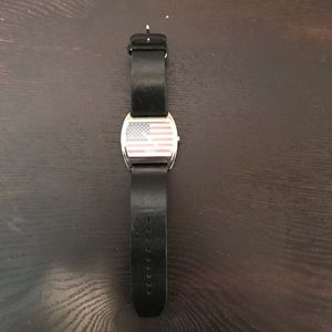 Men's FOSSIL AMERICAN FLAG WATCH w/ Black Leather